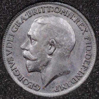 1917 George V Farthing DARKENED Obv