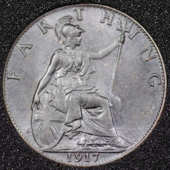 1917 George V Farthing DARKENED Rev