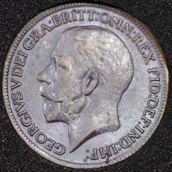 1918 George V Farthing DARKENED Obv