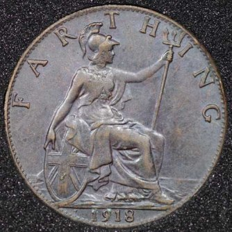 1918 George V Farthing DARKENED Rev