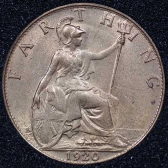 1920 George V Farthing Rev