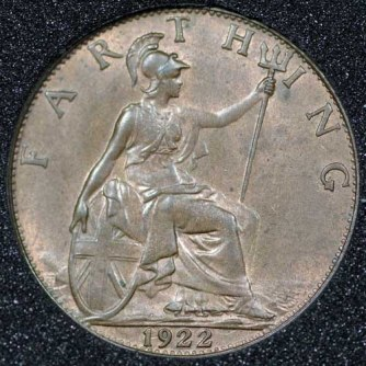 1922 George V Farthing Rev