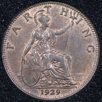 1929 George V Farthing Rev