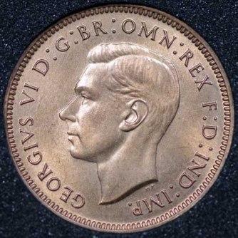 1944 George VI Farthing Obv