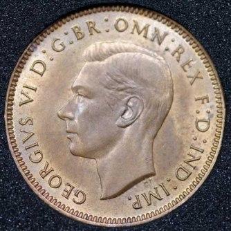 1947 George VI Farthing Obv