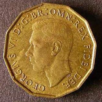 1951 Threepence Brass George VI Obv Web