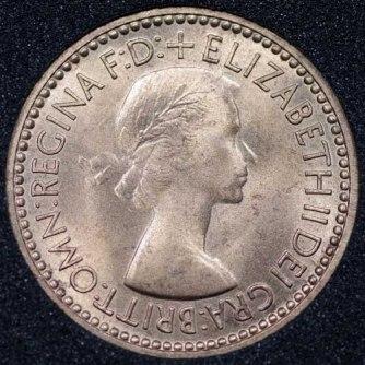 1953 Elizabeth II Farthing 1+A Obv