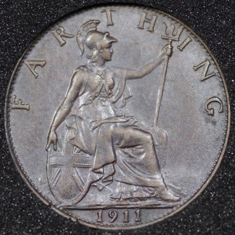 1911 George V Farthing DARKENED Rev
