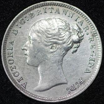 1877 Victoria Silver Threepence Obv