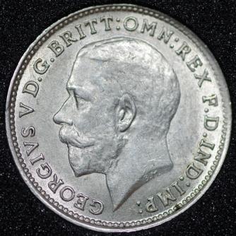 1915 George V Silver Threepence Obv