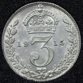 1915 George V Silver Threepence Rev
