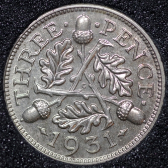 1931 George V Silver Threepence Rev
