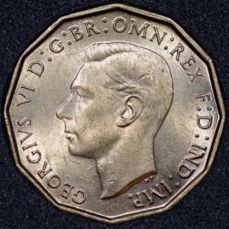 1937 George VI Threepence Brass Obv