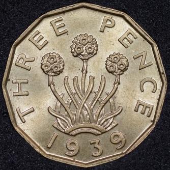 1939 George VI Threepence Rev