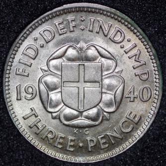 1940 George VI Silver Threepence Rev