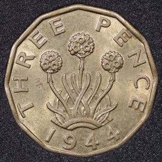 1944 George VI Threepence Rev