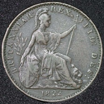 1822 George IV Farthing Rev