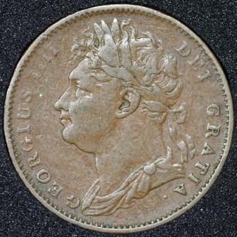 1825 George IV Farthing Obv