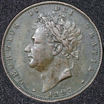 1827 George IV Farthing Obv
