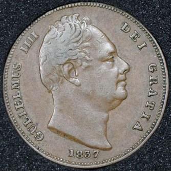 1837 William IV Farthing Obv