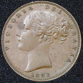 1853 Victoria Farthing Obv