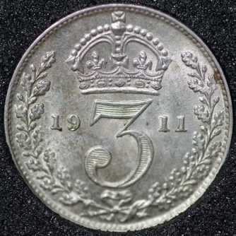 1911 George V Silver Threepence Rev