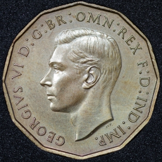 1937 George VI PROOF Threepence Brass Obv