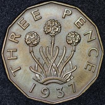 1937 George VI PROOF Threepence Brass Rev