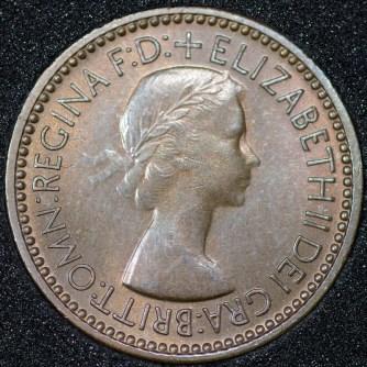 1953 Elizabeth II Farthing 1+B Obv
