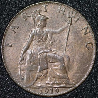 1919 George V Farthing Rev