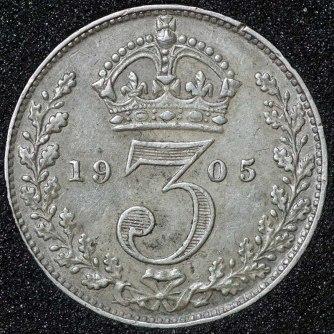 1905 Edward VII Silver Threepence Rev