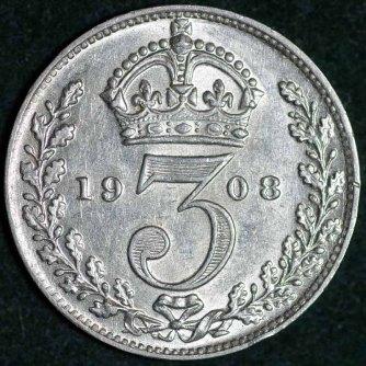 1908 Edward VII Silver Threepence Rev 800 B
