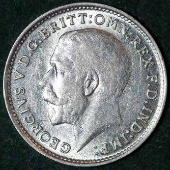 1919 George V Silver Threepence Obv B