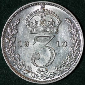 1919 George V Silver Threepence Rev B