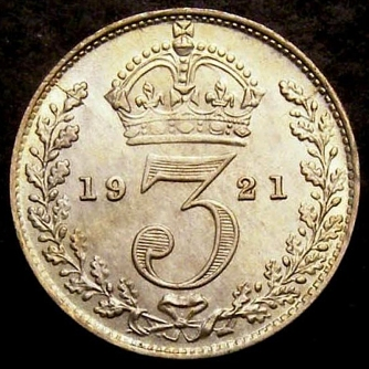1921 Threepence CGS 78 Rev