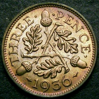 1936 Threepence CGS 85 Rev