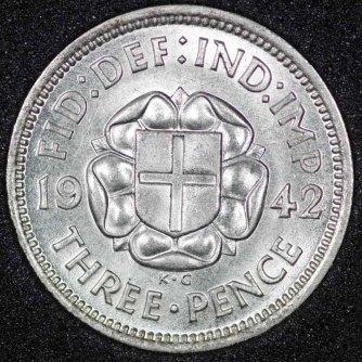1942 George VI Silver Threepence Rev