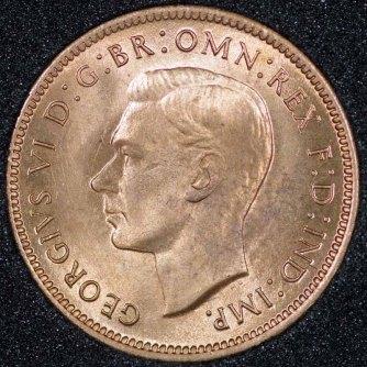 1943 George VI Farthing Obv