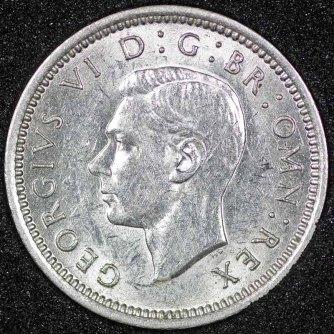 1944 George VI Silver Threepence Obv