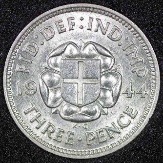 1944 George VI Silver Threepence Rev