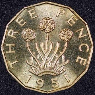 1951 George VI PROOF Threepence Rev