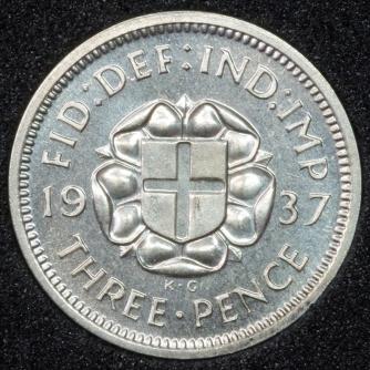 1937 George VI PROOF Threepence Rev