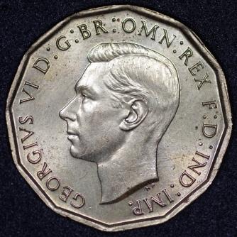 1945 George VI Brass Threepence Obv