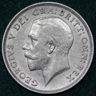 1914 George V Sixpence Obv 400