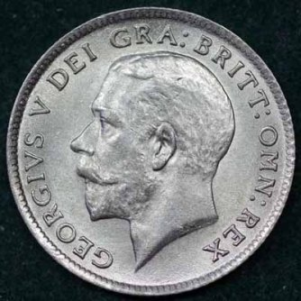 1920 George V Sixpence Obv 400