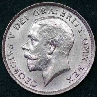 1925 George V Sixpence Obv 400