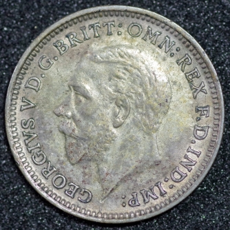 1926 George V Silver Threepence Obv 1st