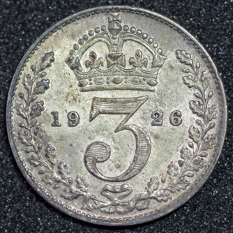 1926 George V Silver Threepence Rev 1st