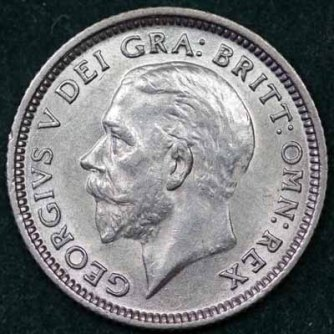 1927 George V Sixpence Obv 400