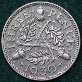 1930 George V Silver Threepence Rev 2nd